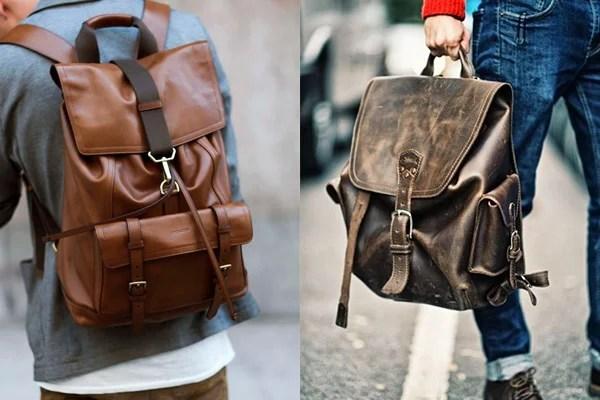 a2a5f770ffcc4 As mochilas masculinas de couro são um acessório que traz elegância e  estilo ao seu look. Tanto os modelos pretos quanto os marrons são boas ...