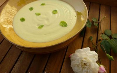 Crema de calabacines (o tapines), puerro y gorgonzola
