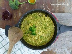 Arroz meloso con chocos, brócoli y ajetes