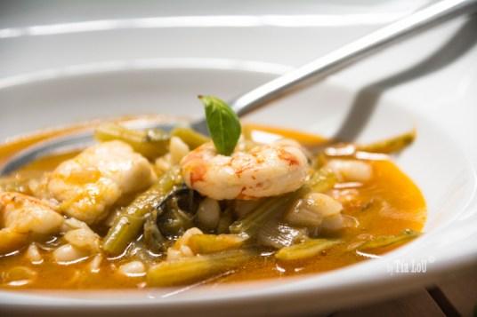 Tagarninas, en sopa Thai y con mariscos