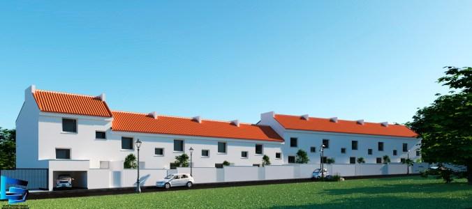 Vista fachada principal 10 viviendas en hilera
