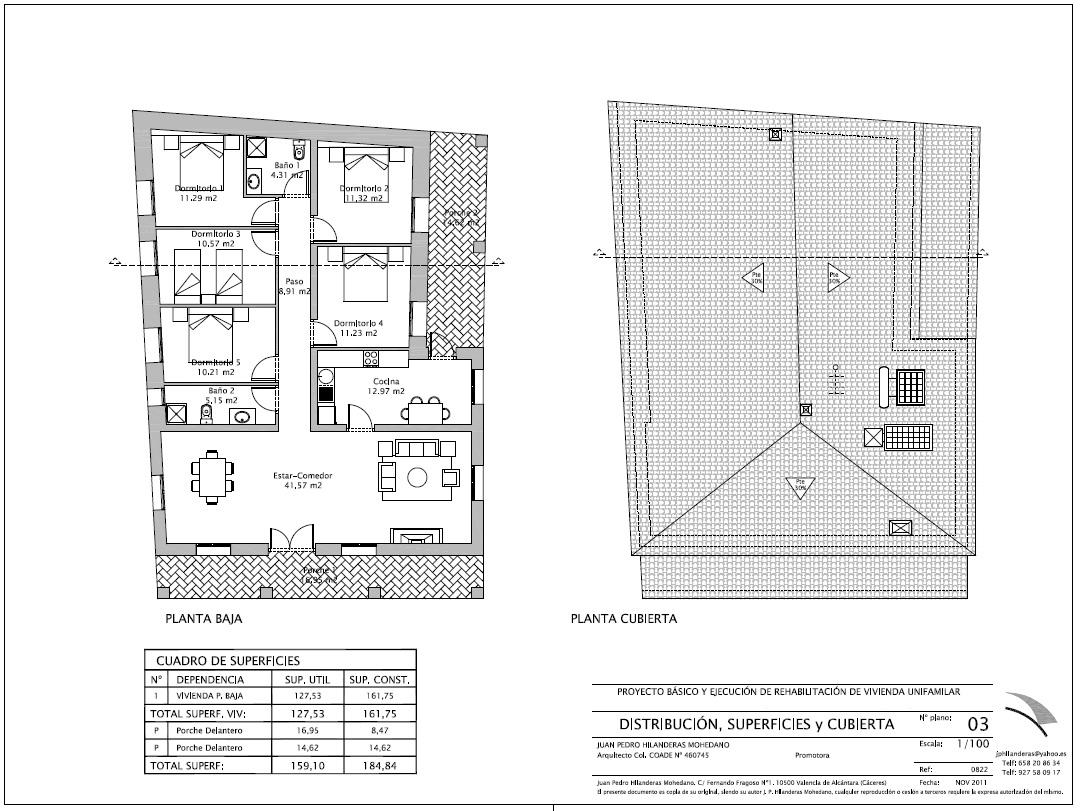 Plano de planta de rehabilitación de vivienda de campo