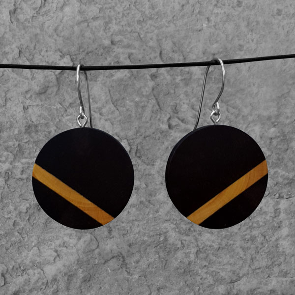 Boucles d'oreille Oblique Ébène