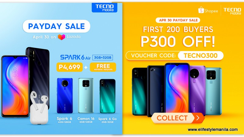Tecno mobile PayDay Sale in Shopee and Lazada on April 30