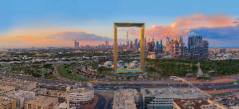 Aerial View of Dubai Sunset
