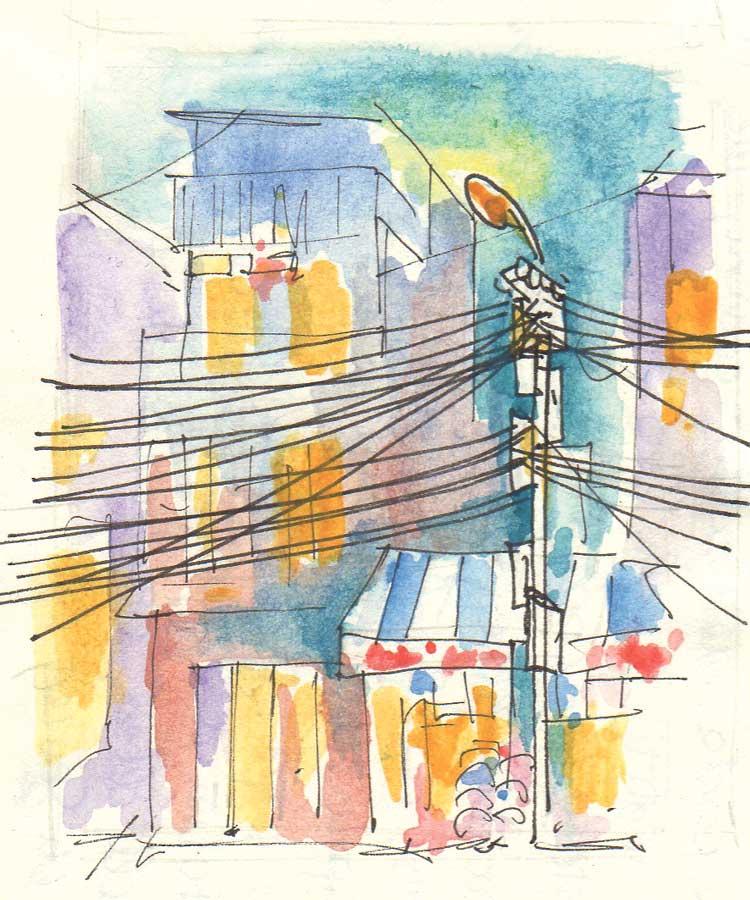Vietnam Luca Braidotti disegno Hanoi cavi elettrici