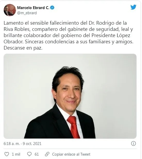 fallecido de seguridad.jpg 716938150 - Fallece Rodrigo de la Riva, miembro del gabinete de seguridad de AMLO | Noticias de México #AMLO