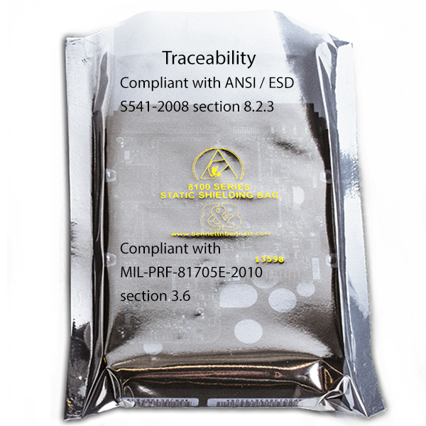 Elimstat Shielding Bags are compliant with both ANSI / ESD S541-2008 and MIL-PRF-81705E-2010 requirements for lot codes, for date / lot code traceability.