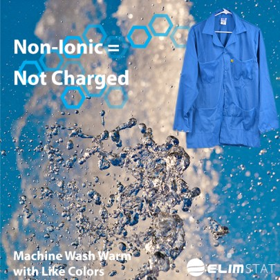 Use only Non-Ionic Detergents and Fabric Softeners to Clean ESD Smocks