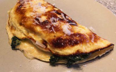 Omelett fylld med grönkål