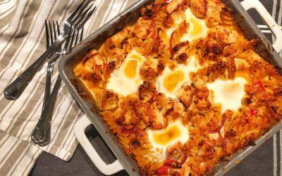 Pastagratäng med kyckling och ägg