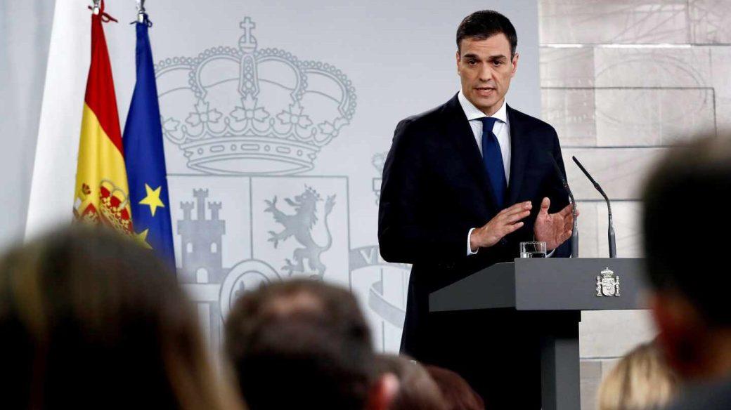 El presidente del Gobierno, Pedro Sánchez, durante su comparecencia en Moncloa.