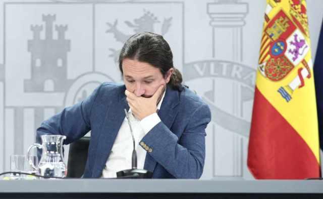 El vicepresidente segundo del Gobierno, Pablo Iglesias, en una comparecencia informativa en La Moncloa.