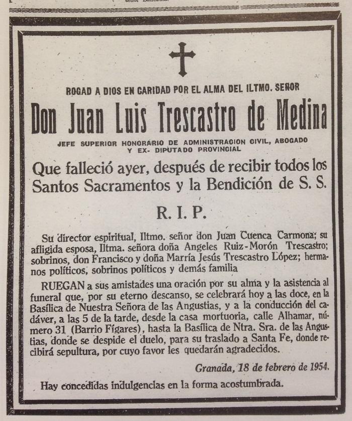 Esquela mortuoria de Juan Luis Trescastro Medina, publicada el día de su entierro./HEMEROTECA DIARIO PATRIA