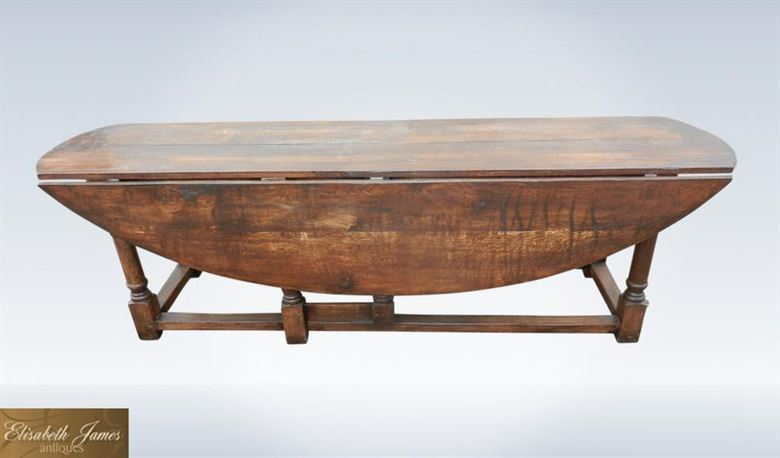 Large Oval Oak Antique Table To Seat 12 People