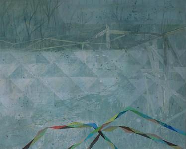 'Plattenbau und Betonstrukturwand (rechtwinklige Dreiecke)', Acryl auf Leinwand, 80 x 100 cm, 2014