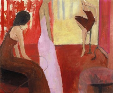Drei Frauen in rotem Raum, Öl auf Leinwand, 145 x 175 cm, 2005