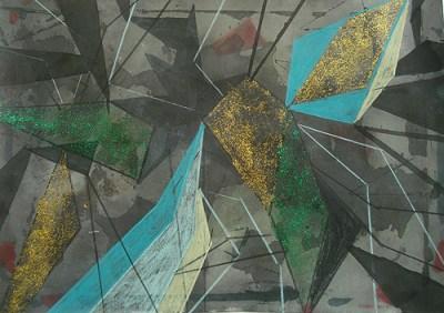 Feld, Herbst, Mischtechnik auf Papier, 21 x 29,7 cm, 2012