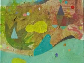 'Hügel, See und Boote', Öl auf Leinwand, 24 x 30 cm, 2013