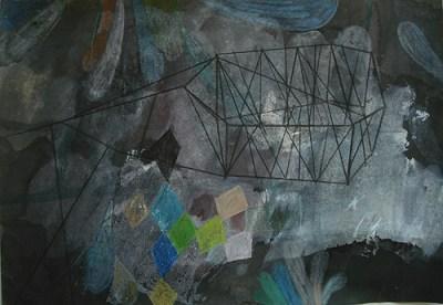 Feld mit Büschen, Mischtechnik auf Papier, 21 x 29,7 cm, 2012