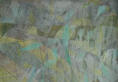 Koitenhagen morgens, neblig, Mischtechnik auf Papier, 21 x 29,7 cm, 2012