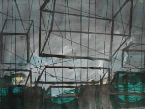 Kästen am Wasser, Mischtechnik auf Papier, 21 x 29,7 cm,