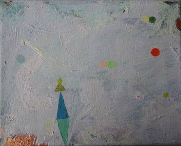 light blue and mint green triangle, some dots, Öl auf Leinwand, 24x30 cm, 2016