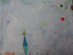 light blue and mint green triangle, some dots, Öl auf Leinwand, 24x30 cm, 2016