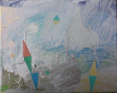 Fog and triangles, Öl auf Leinwand, 24x30 cm, 2016