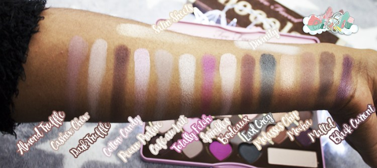 Swatches La Chocolate Bon Bons palette de chez Too Faced [Revue, Swatch, Tutoriel]