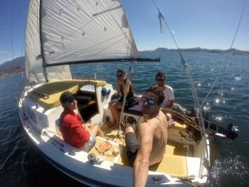 En voilier dans la Baie d'Hobart...