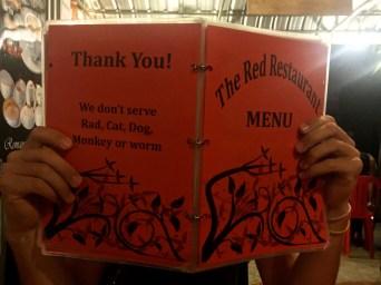 Carte Red Restaurant Siem Reap Cambodge blog voyage