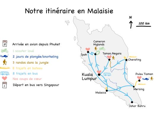 Carte itinéraire Bilan Malaisie blog voyage 2016