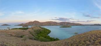 Au fond, l'île de Rinça et ses dragons de Komodo