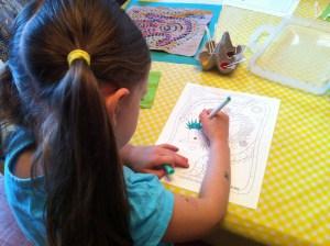 Maya coloring an echidna