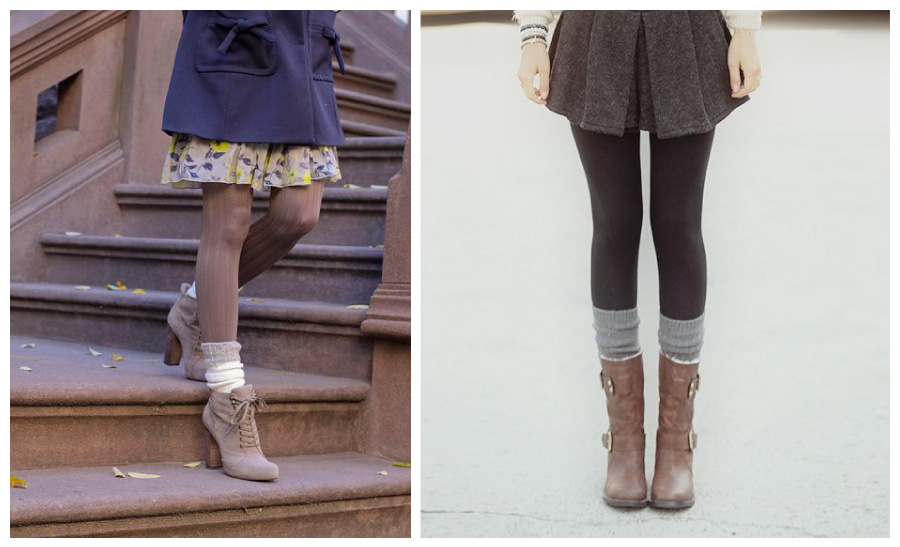 Knits Socks with Tights and A Skirt Mood Board