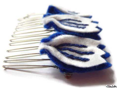 Blue and White Embroidered Felt Petal Hair Comb Slide by Eliston Button - About Me at www.elistonbutton.com - Eliston Button - That Crafty Kid – Art, Design, Craft & Adventure.