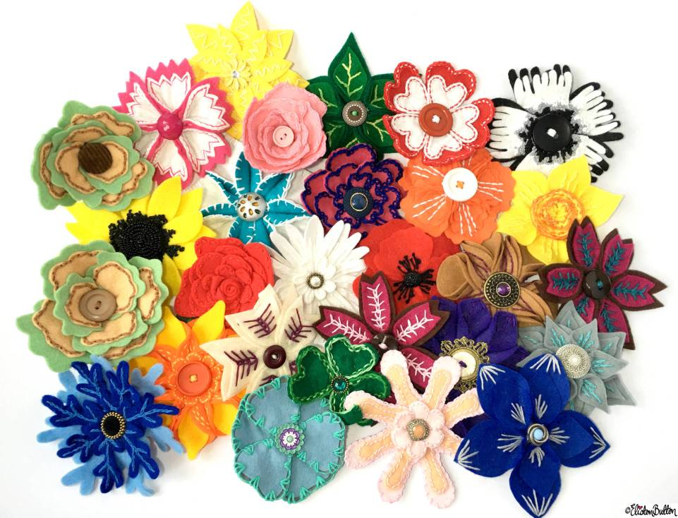 Handmade Embroidered Felt Flower Brooch Collection by Eliston Button on Etsy - About Me at www.elistonbutton.com - Eliston Button - That Crafty Kid – Art, Design, Craft & Adventure.