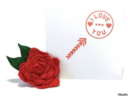 Simple Red and White I Love You, Hearts and Arrow Hand Stamped Square Card with Red Felt Flower Brooch by Eliston Button - About Me at www.elistonbutton.com - Eliston Button - That Crafty Kid – Art, Design, Craft & Adventure.