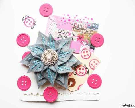Slate and Seafoam Embroidered Felt Flower Brooch with Packaging - About Me at www.elistonbutton.com - Eliston Button - That Crafty Kid – Art, Design, Craft & Adventure.