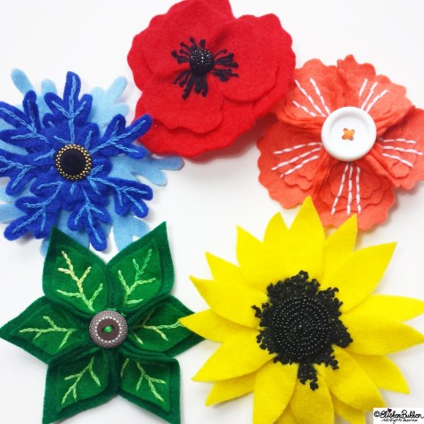 Day 31 - Five - Five Handmade Felt Flower Brooches - Photo-a-Day October 2014 - Eliston Button A to Z of Craft at www.elistonbutton.com - Eliston Button - That Crafty Kid – Art, Design, Craft & Adventure.