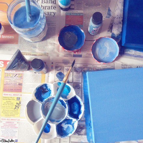Painting Canvases Blue, Paints, Paint Brushes - Around Here...April 2015 at www.elistonbutton.com - Eliston Button - That Crafty Kid – Art, Design, Craft & Adventure.