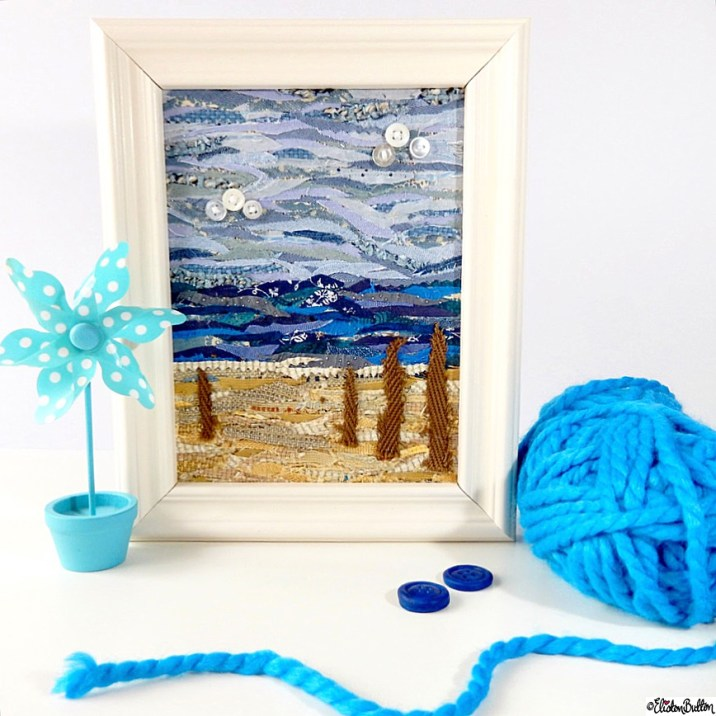 Fabric Driftwood Beach Scene Collage by Eliston Button with Blue WoolYarn - Around Here…October 2015 at www.elistonbutton.com - Eliston Button - That Crafty Kid