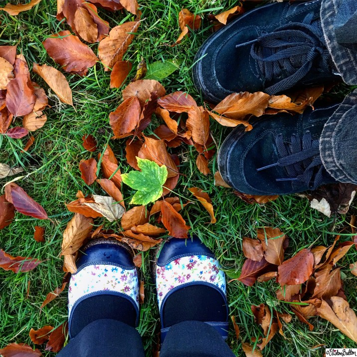 Just Us Two - Shoes in the Autumn Leaves - Around Here…October 2015 at www.elistonbutton.com - Eliston Button - That Crafty Kid