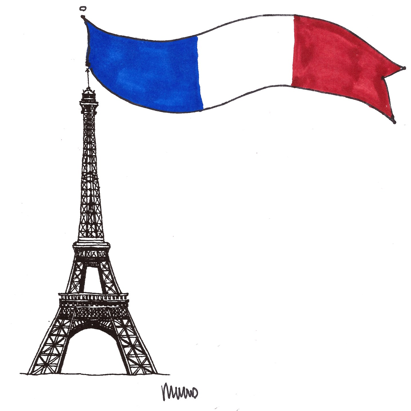 Eiffel Tower and French Flag Illustration by M Wood - Around Here…November 2015 at www.elistonbutton.com - Eliston Button - That Crafty Kid