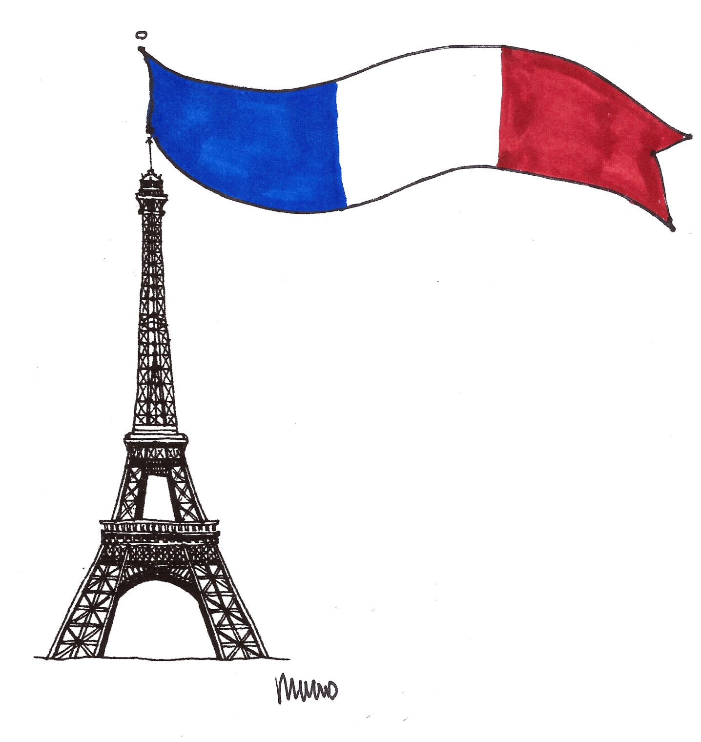 Eiffel Tower and French Flag Illustration by M Wood - Around Here...November 2015 at www.elistonbutton.com - Eliston Button - That Crafty Kid – Art, Design, Craft & Adventure.