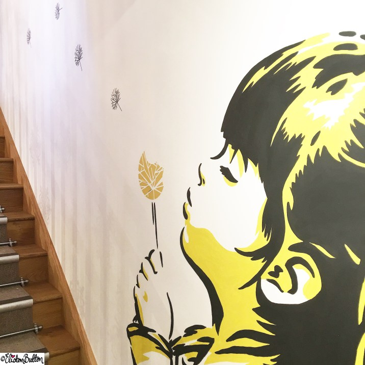 Graffiti Style Wall Art of Girl Blowing a Dandelion - Around Here…November 2015 at www.elistonbutton.com - Eliston Button - That Crafty Kid