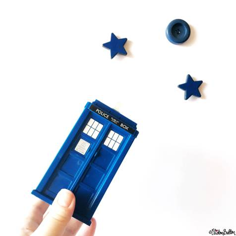 Day 27 - Flying - Doctor Who TARDIS, Stars and Button Moon - Photo-a-Day – March 2016 at www.elistonbutton.com - Eliston Button - That Crafty Kid – Art, Design, Craft & Adventure.