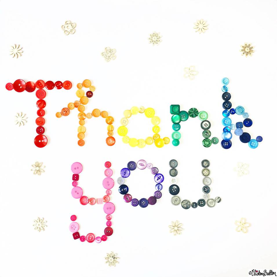 Day 05 - Thank You - Thank you Button Art Lettering - Photo-a-Day – April 2016 at www.elistonbutton.com - Eliston Button - That Crafty Kid – Art, Design, Craft & Adventure.