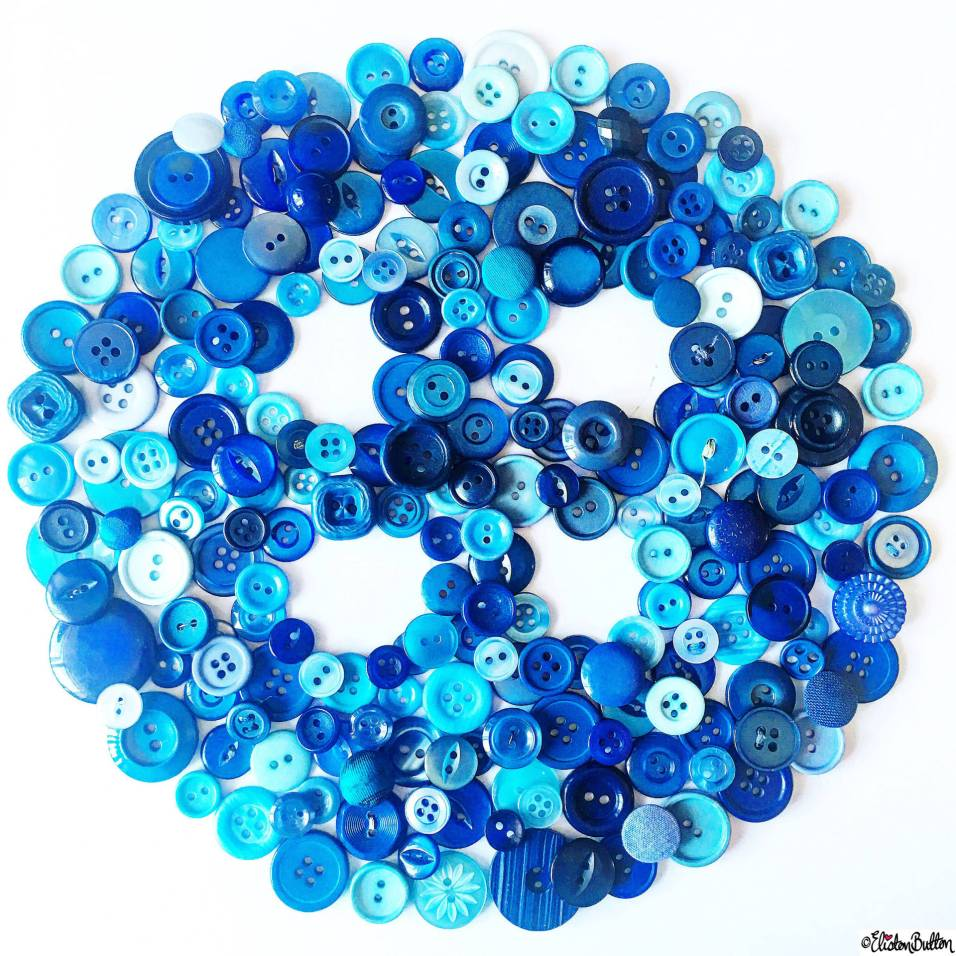 Day 05 - Button - Button Made Out Of Blue Buttons! - Photo-a-Day – May 2016 at www.elistonbutton.com - Eliston Button - That Crafty Kid – Art, Design, Craft & Adventure.